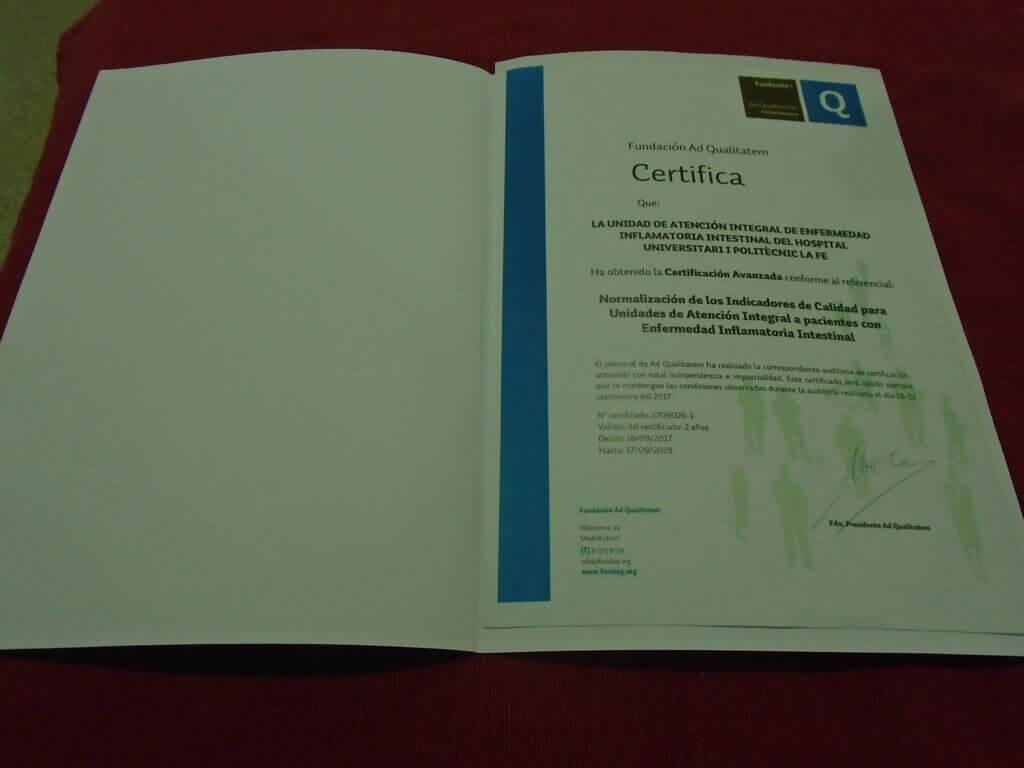 Certificación de la Unidad de EII Hospital La Fe